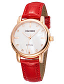 cheap Quartz Watches-CADISEN Women's Casual Watch Fashion Watch Japanese Quartz 30 m Water Resistant / Water Proof Noctilucent Casual Watch Leather Band Analog Fashion Elegant Red - White / Red Two Years Battery Life