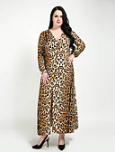 cheap Women's Dresses-Cute Ann Women's Plus Size Club Vintage A Line Shift Sheath Dress - Leopard, Ruched Split Maxi V Neck