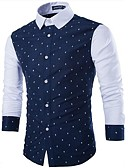 cheap Men's Shirts-Men's Work / Going out Active Slim Shirt - Polka Dot