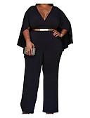 cheap Women's Jumpsuits & Rompers-Women's Basic Bodysuit - Solid Color Wide Leg V Neck / Spring