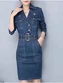 preiswerte Damen Kleider-Damen Grundlegend Baumwolle Schlank Jeansstoff Kleid Solide Knielang Hemdkragen / Frühling