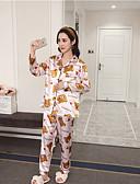 זול חלוקים & Sleepwear-בגדי ריקוד נשים חליפות פיג'מות-דפוס,פרחוני