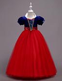 preiswerte Kleider für Mädchen-Mädchen Kleid Party Ausgehen Einfarbig Baumwolle Polyester Frühling Sommer Kurzarm Niedlich Blau Rote Gelb