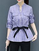 זול טרנינגים וקפוצ'ונים לנשים-פסים צווארון V סגנון רחוב עבודה חולצה-בגדי ריקוד נשים