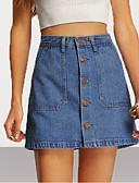 זול חצאיות לנשים-אחיד - חצאיות מיני כותנה / ג'ינס ליציאה צינור בגדי ריקוד נשים מותניים גבוהים