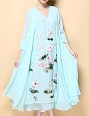 olcso Női ruhák-Női Extra méret Kínai Pamut Sifon Ruha - Nyomtatott, Virágos Midi V-alakú