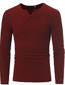 ieftine Maieu & Tricouri Bărbați-Bărbați Rotund Tricou De Bază / Chinoiserie - Mată / Manșon Lung / Lung