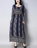 cheap Print Dresses-Women's Holiday Chinoiserie Cotton Slim Loose / Swing Dress - Geometric Pleated / Print Maxi / Spring