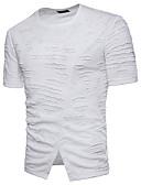 זול חולצות לגברים-אחיד צווארון עגול טישרט - בגדי ריקוד גברים סרוג כותנה