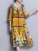 tanie Sukienki-Damskie Rozmiar plus Wyjściowe Wyrafinowany styl Jedwab Luźna Luźna Sukienka - Geometryczny, Nadruk Midi / Wiosna / Lato