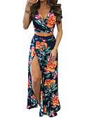 cheap Women's Two Piece Sets-Women's Going out Basic / Sophisticated Short Set - Floral, Print High Waist Skirt V Neck / Summer / Floral Patterns