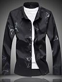 זול חולצות פולו לגברים-פרחוני סגנון סיני מידות גדולות, חולצה - בגדי ריקוד גברים כותנה