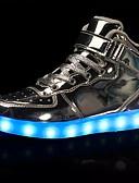 preiswerte Quartz-Damen Schuhe PU Frühling / Herbst Komfort Sneakers Flacher Absatz Runde Zehe Schnürsenkel / LED Weiß / Schwarz