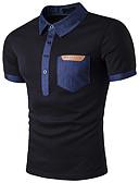 billige Herreundertøj og -sokker-Høj krave Tynd Herre - Farveblok Bomuld Gade T-shirt / Kortærmet