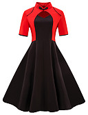 cheap Women's Two Piece Sets-Women's Plus Size Going out Vintage Basic Slim Sheath Dress - Color Block Black & Red V Neck