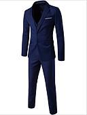 povoljno Muški sakoi i odijela-odijela Veći konfekcijski brojevi Muškarci - Ulični šik Jednobojni, Zašiljeni rever Slim Pamuk