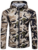 cheap Men's Jackets & Coats-Men's Sports / Going out Spring / Summer Regular Jacket, Camouflage Hooded Long Sleeve Spandex Print White / Army Green / Khaki L / XL / XXL