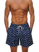 baratos Camisetas & Regatas Masculinas-Homens Azul Marinha Calcinhas, Shorts & Calças de Praia Roupa de Banho - Geométrica Estampado L XL XXL / Sexy