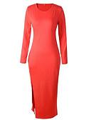 povoljno Ženske haljine-Žene Izlasci Ulični šik Slim Bodycon Haljina Jednobojni Uski okrugli izrez Maxi / Proljeće / Ljeto