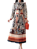 cheap Women's Dresses-Women's Daily / Holiday Boho Slim Sheath / Swing Dress - Floral Pleated / Print Stand Spring Green Orange L XL XXL