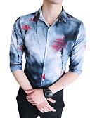 tanie Męskie koszule-Koszula Męskie Moda miejska Klubowa Szczupła - Kwiaty / Krótki rękaw