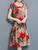 billige Kjoler-Dame Store størrelser Chinoiserie A-linje Kjole - Blomstret Knelang