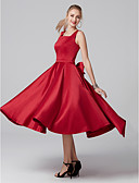 cheap Cocktail Dresses-A-Line Square Neck Tea Length Satin Cocktail Party Dress with Bow(s) / Pleats by TS Couture®