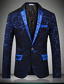 cheap Men's Blazers & Suits-Men's Party / Club / Party / Cocktail Sophisticated Spring / Fall Regular Blazer, Print / Floral Print Notch Lapel Long Sleeve Cotton / Polyester Blue / Black / Wine XL / XXL / XXXL