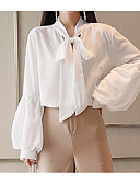 voordelige Cocktailjurken-Dames Street chic Strik Overhemd Effen Opstaand / Opstaand  / Inrijgen