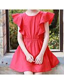 tanie Sukienki dla dziewczynek-Dzieci Dla dziewczynek Prosty / Aktywny Jendolity kolor Krótki rękaw Sukienka / Bawełna