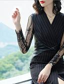 זול שמלות נשים-בגדי ריקוד נשים מידות גדולות רזה מכנסיים - אחיד שחור, תחרה / מפוצל מותניים גבוהים שחור / Party / צווארון V / ליציאה
