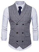 cheap Men's Blazers & Suits-Men's Daily / Holiday Vintage Spring / Fall Plus Size Regular Vest, Plaid Shirt Collar Sleeveless Polyester Brown / Dark Gray / Light gray XXL / XXXL / 4XL / Slim