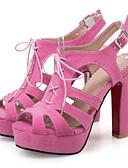 cheap Women's Dresses-Women's Shoes Nubuck leather Spring / Summer Comfort / Novelty Sandals Chunky Heel Peep Toe Buckle Yellow / Green / Pink