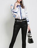 preiswerte Bedruckte Kleider-Damen Solide / Blumen Baumwolle Bluse, Hemdkragen Spitze / Gefaltet