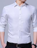 זול חולצות לגברים-אחיד צווארון קלאסי רזה עבודה חולצה - בגדי ריקוד גברים בסיסי / שרוול ארוך