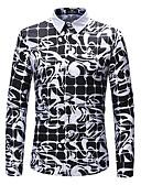 זול חולצות לגברים-פרחוני / גיאומטרי מידות גדולות חולצה - בגדי ריקוד גברים / שרוולים קצרים