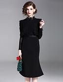 abordables Vestidos de Mujeres-Mujer Vintage / Chic de Calle Delgado Corte Bodycon Vestido Un Color Hasta la Rodilla Escote Chino