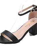 preiswerte Hüte-Damen Schuhe PU Frühling Komfort Sandalen Block Ferse Runde Zehe Schwarz / Silber / Braun / Block Fersen Sandalen