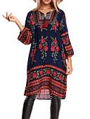 tanie Sukienki-Damskie Wyjściowe Moda miejska Luźna Sukienka - Kwiaty Dekolt w kształcie litery U Midi / Wiosna / Lato