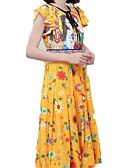 ieftine Rochii Maxi-Pentru femei De Bază Zvelt Pantaloni - Plisat Galben