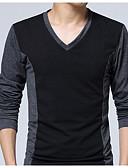 お買い得  メンズTシャツ&タンクトップ-男性用 プラスサイズ Tシャツ 活発的 Vネック スリム ソリッド コットン / 長袖 / ロング