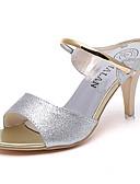 זול שמלות נשים-בגדי ריקוד נשים נעליים PU קיץ נוחות שטוחות עקב נמוך בוהן עגולה שרשרת זהב / שחור / כסף