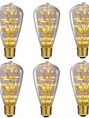 billige Aftenkjoler-6stk 3W 250lm E26 / E27 LED-glødetrådspærer ST64 47 LED Perler SMD Dæmpbar Starry Dekorativ Varm hvid 220-240V