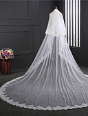 cheap Wedding Veils-Two-tier Double Layered Wedding Veil Cathedral Veils with Embroidery Tulle / Classic