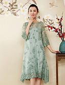 baratos Vestidos Femininos-Mulheres Temática Asiática / Sofisticado Solto Vestido - Bordado, Floral Médio