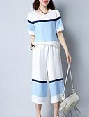 ieftine Costum Damă Două Bucăți-Pentru femei Mărime Plus Size Boho Concediu / Ieșire Larg Set - Dungi, Pantaloni / Vară