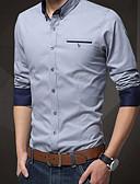 זול חולצות לגברים-אחיד רזה חולצה - בגדי ריקוד גברים / שרוול ארוך