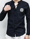 tanie Męskie koszule-Puszysta Koszula Męskie Wzornictwo chińskie, Haft / Nadruk Len Stójka Solidne kolory / Geometric Shape / Długi rękaw