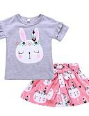 billige Tøjsæt til piger-Baby Pige Daglig / Ferie Trykt mønster Sløjfer / Flettet Kortærmet Normal Normal Bomuld Tøjsæt Lyserød / Sødt