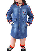 cheap Girls' Jackets & Coats-Girls' Daily Solid Colored Print Trench Coat, Cotton Polyester Spring Fall Long Sleeves Simple Casual Blue